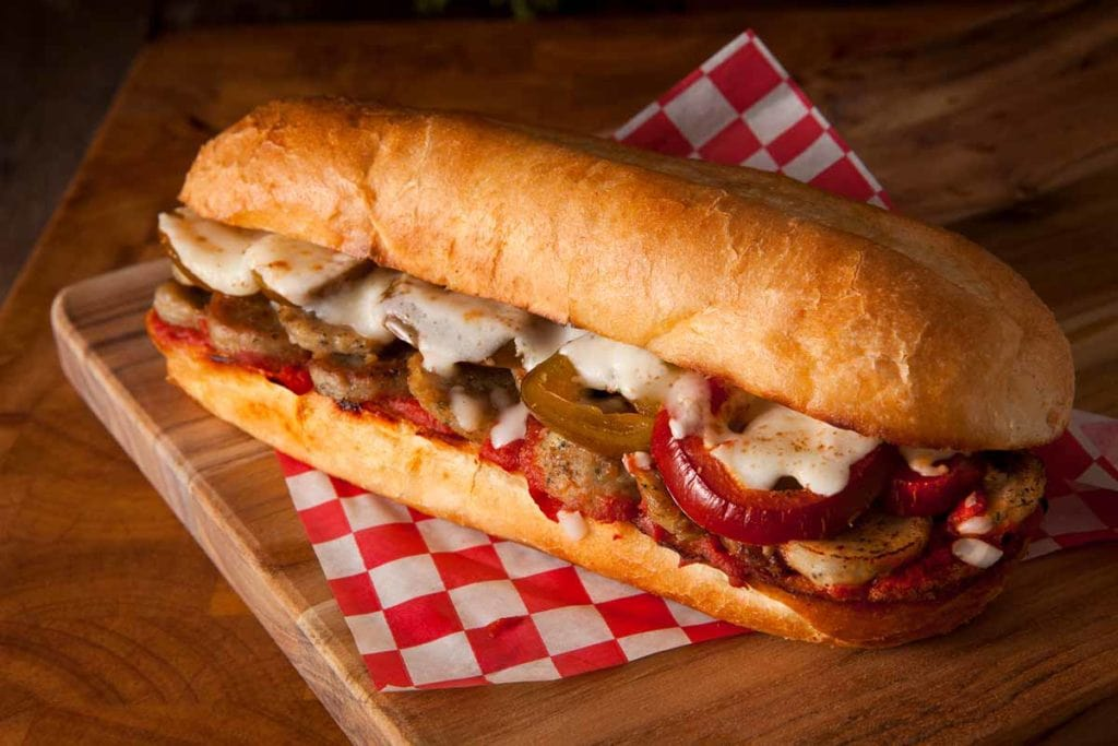 Meatball Parmesan Hoagie at Crooked Crust Pizza